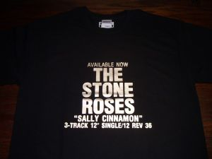 MENS RETRO MADCHESTER `THE STONE ROSES SALLY CINNAMON POSTER` T-SHIRT